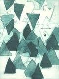 Floresta ou montanhas abstratas, ilustração da pintura de óleo na técnica clássica da impressão de relevo ilustração stock
