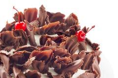 Floresta preta de bolo de chocolate, isolada no branco imagens de stock royalty free