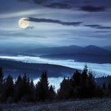 Floresta sobre o vale nevoento em montanhas do outono na noite fotos de stock royalty free
