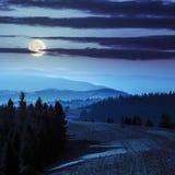 Floresta sobre o vale nevoento em montanhas do outono na noite Fotografia de Stock