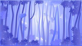 Floresta tropical estilizado na n?voa ilustração royalty free