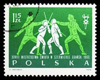 Floret, 28th World Fencing Championships serie, circa 1963. MOSCOW, RUSSIA - SEPTEMBER 15, 2018: A stamp printed in Poland shows Floret, 28th World Fencing stock photography