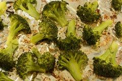 Florets брокколи взбрызнутые с порошком чеснока стоковое изображение