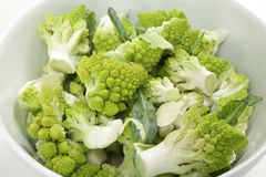 Florets of romanescu cauliflower in a bowl Stock Image