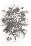 Florezca el concepto del ejemplo del dibujo en la ceniza, polvo, suciedad stock de ilustración