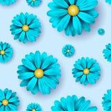Florezca el fondo inconsútil del modelo con los elementos florales azules realistas Imagen de archivo