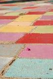 Florezca el pétalo en un campo de azulejos coloreados Imágenes de archivo libres de regalías