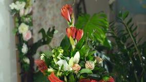 Florezca el ramo en los rayos de la luz, rotación, la composición floral consiste en Amaryllis Ferrari, aspidistra almacen de metraje de vídeo