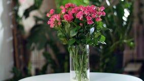Florezca el ramo en los rayos de la luz, rotación, la composición floral consiste en las rosas, belleza divina En el fichero de almacen de metraje de vídeo