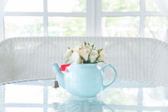 Florezca en pote en la tabla con alféizar en fondo Imágenes de archivo libres de regalías