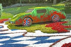 Florezca la exposición de los coches en Spivoche poste en Kyiv, Ucrania Imagen de archivo libre de regalías