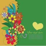 Florezca la tarjeta con el corazón amarillo Imagen de archivo
