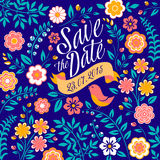 Florezca la tarjeta de la invitación de la boda, ahorre la fecha ilustración del vector