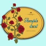 Florezca la tarjeta, florezca la guirnalda de rosas, cubierta Imagen de archivo libre de regalías