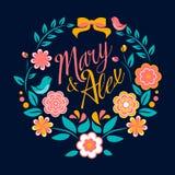 Florezca la tarjeta, Maria y a Alex de la invitación de la boda libre illustration