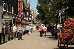 Florezca las cestas en la ciudad floral Merseyside de Southport de la calle principal Imagenes de archivo