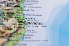 Florianópolis on map. Close up shot of Florianópolis is the capital and second largest city of the state of Santa Catarina, in the South region of Brazil Stock Photos