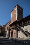 Florian bramy część fortyfikacje które zostają teraz w mieście Krakow zdjęcie stock