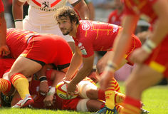Florian Cazenave of USAP Perpignan. In action during the French rugby union league match USAP Perpignan vs Stade Toulousain at the Olympic Stadium in Barcelona Stock Images