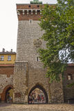 Florian's Gate, Krakow, Poland. The ancient Florian's Gate in the historic part of Kraków Stock Photos