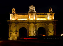 Floriana Gate at night - Malta. This gate has been built in the 17th century by the knights of st. John and formed part of the bastions surrounding Valletta Stock Image