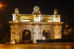 Floriana Gate to Valletta in  night. Malta Stock Photos
