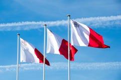Floriana, Malta - 9 de maio de 2017: Bandeiras de Malta ao lado do memorial de guerra perto da estação de ônibus de Valletta Foto de Stock