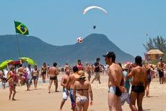 Florianopolis beach day. Florianopolis, SC, Brazil - Feb 3, 2012: People enjoying a holiday at the beach in Florianopolis, Santa Catarina, Brazil Royalty Free Stock Image