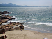 Florianopolis beach rock cove. Florianopolis beach and rock cove stock images