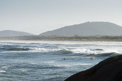 Florianopolis, Brazil. Surfers in the Praia do Joaquina, Florianopolis, Santa Catarina, Brazil stock photo