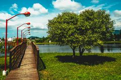 Wooden bridge over small lake. Florianopolis, Brazil. Februry, 2018. Wooden bridge over small lake Lagoa da Chica, Campeche, Floripa Stock Photos