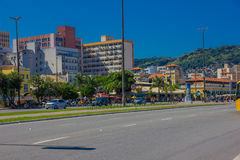 FLORIANOPOLIS, BRAZIL - MAY 08, 2016: nice view of the empty street with lot of pedestrians at the corner outside the. Market Stock Photos