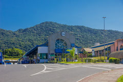 FLORIANOPOLIS, BRAZIL - MAY 08, 2016: outdoors of a public transport station, some busses parked at the park station.  Royalty Free Stock Photography