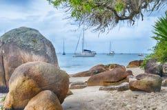 Florianopolis, a praia Jurere, Brasil fotografia de stock