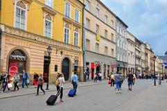 Florianska,克拉科夫主要购物街道  库存照片