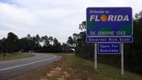 florida, котор нужно приветствовать Знак государственной границы АЛАБАМА 16-ое октября 2013 видеоматериал