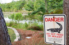 Florida-Alligatorwarnzeichen Stockfotografie