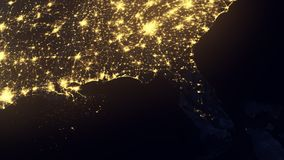 Florida as seen from space after Hurricane. Florida as seen from space the night after Hurricane Irma knocked out power to millions of customers. 4K UHD stock video footage
