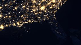 Florida as seen from space after Hurricane. Florida as seen from space the night after Hurricane Irma knocked out power to millions of customers. 4K UHD stock video