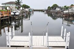 Florida Backyard Canal. Waterway accommodates homeowners` boats and provides direct access to the Gulf of Mexico stock photos