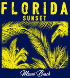 Florida beach typography with floral illustration for t-shirt  Royalty Free Stock Photography