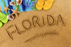 Florida beach writing Royalty Free Stock Image