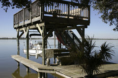 Florida Boat Dock. Waterfront dockage along a quaint Florida community stock images
