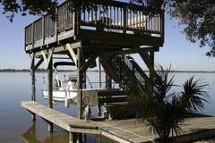 Florida Boat Dock. Waterfront dockage along a quaint Florida community Stock Images