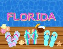 Florida che segna le lettere con lettere tropicali di vettore, con le icone della spiaggia sul backround dell'acqua blu illustrazione vettoriale