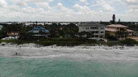 Florida Clear Blue Water Birds Eye View, Sandy Beaches Drone. City on The Beach Aerial View Of Indian Rocks Beach Stock Photo