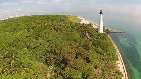 Florida coastline and lighthouse erial view. Aerial view of Florida coastline and lighthouse near Key Biscayne stock video footage
