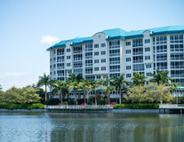 Florida Condos. Seaside condos in Fort Myers Florida.  Shellpoint Retirement Village with palm trees and lake Stock Images