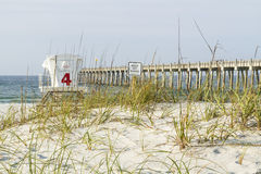 Florida Dunes and Pier Royalty Free Stock Photo