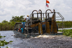 Florida Everglades Airboat. One of many airboat companies taking tourists out to the Everglades National Park for a tour stock images